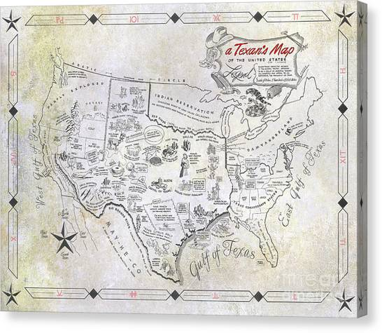 Texas A Canvas Print - A Texan's Map by Jon Neidert
