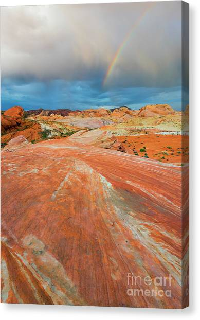 Valley Of Fire Canvas Print - A The End Of The Rainbow by Mike Dawson