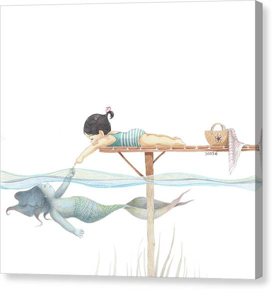 Pencil Art Canvas Print - A Touch Away by Soosh