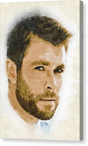 Hollywood Canvas Print - A Tribute To Chris Hemsworth by Dusan Naumovski
