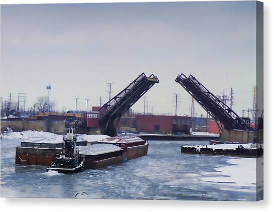 A Tug Boat Pushing A Barge Out To The Lake Canvas Print