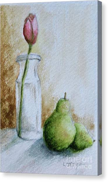 A Tulip And Two Pears Canvas Print