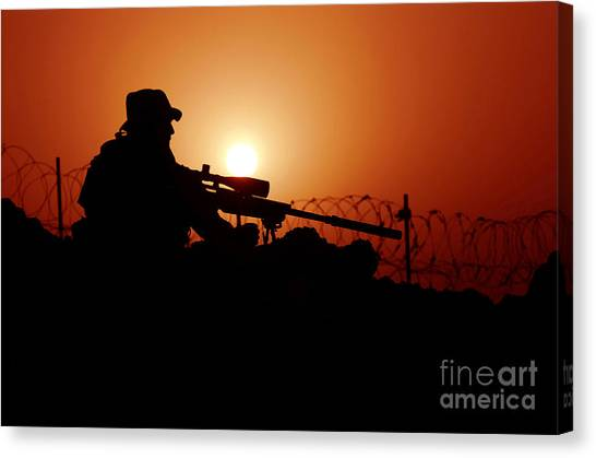 Special Forces Canvas Print - A U.s. Special Forces Soldier Armed by Stocktrek Images