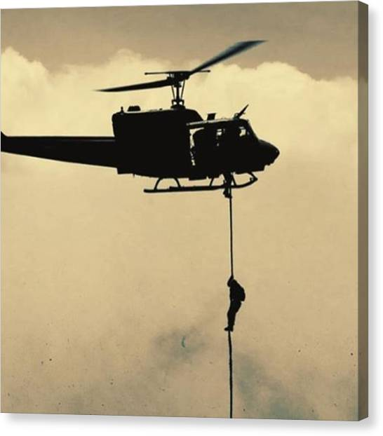 Marines Canvas Print - A #usmc #marine Conducts A Fast Rope by Alex Snay