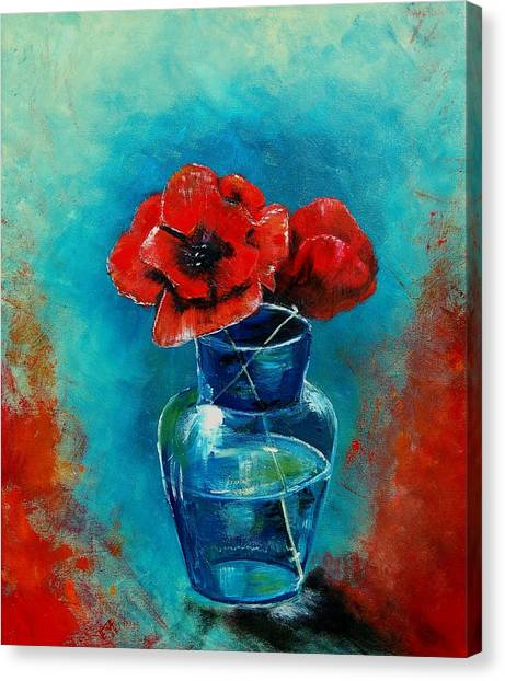 A Vase With Poppies  Canvas Print by Veronique Radelet