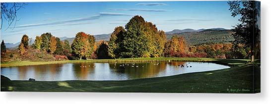 Bernie Sanders Canvas Print - Panorama Of A Vermont Pond In October by Yuri Lev