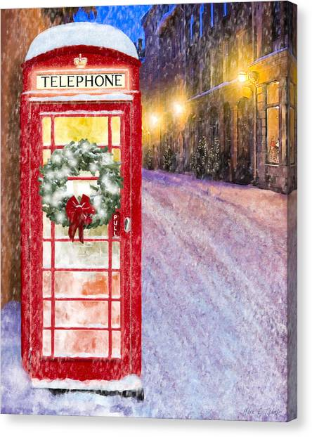 Canvas Print featuring the mixed media A Very British Christmas by Mark Tisdale