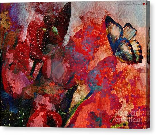 A Very Fairy Tale Of Two Butterflies In Pearlesque Canvas Print