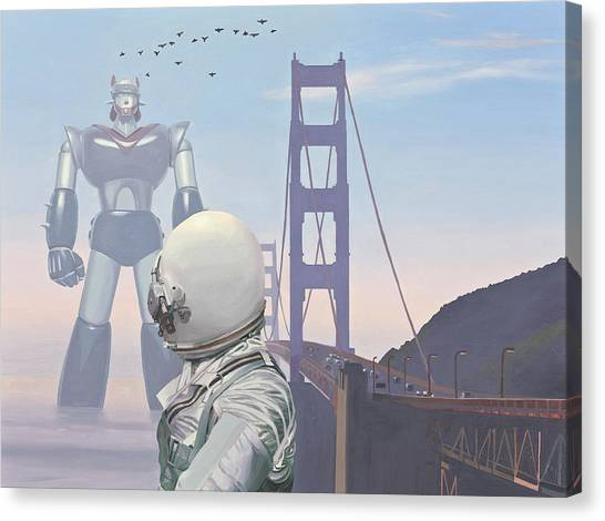 Canvas Print featuring the painting A Very Large Robot by Scott Listfield