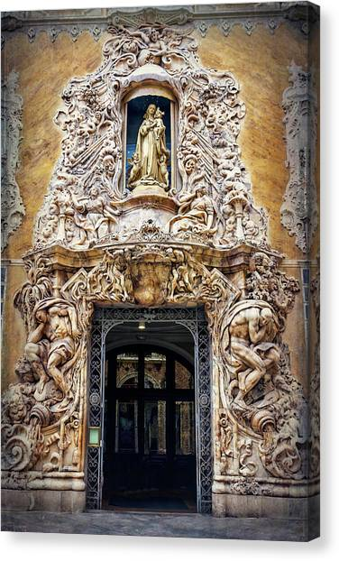 Rococo Art Canvas Print - A Very Ornate Doorway In Valencia Spain  by Carol Japp