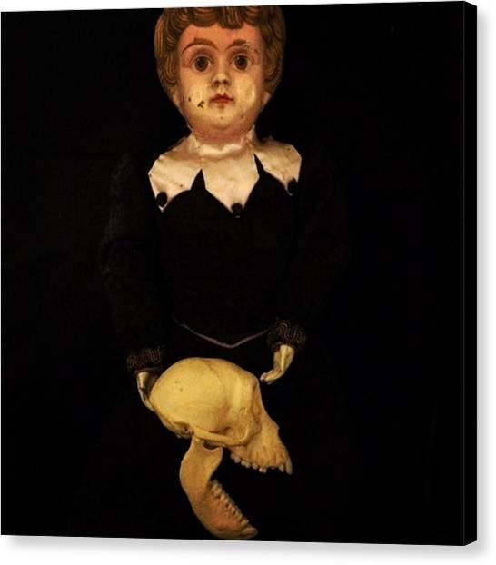 Hell Canvas Print - A Victorian Metal Head Doll I Recently by A Teensy Space In Hell