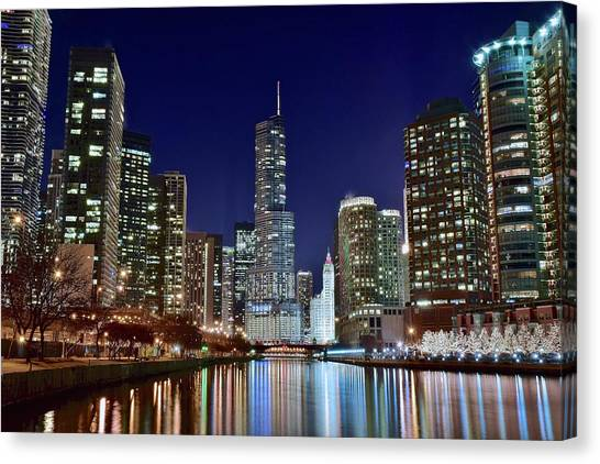 Blackhawk Canvas Print - A View Down The Chicago River by Frozen in Time Fine Art Photography