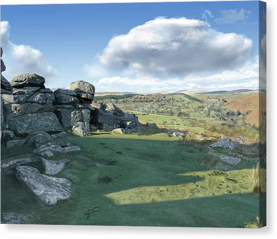 A View From Combestone Tor Canvas Print