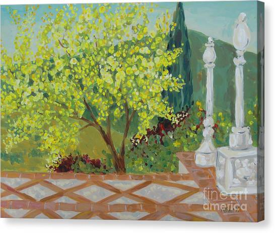 Canvas Print featuring the painting A View From Hearst Castle by Maria Langgle