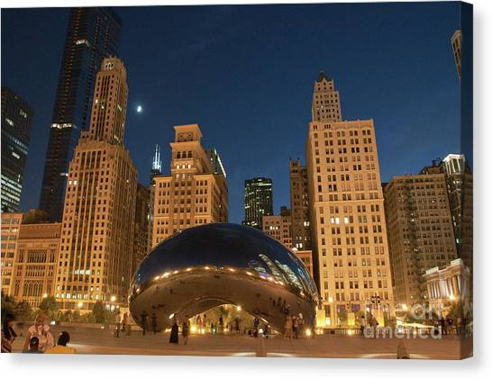 A View From Millenium Park At Night Canvas Print