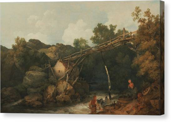 James Franco Canvas Print - A View Near Matlock, Derbyshire With Figures Working Beneath A Wooden Conveyor by Treasury Classics Art