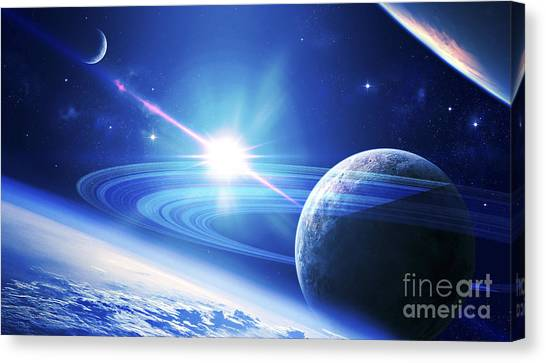 Luminous Canvas Print - A View Of A Planet As It Looms In Close by Kevin Lafin