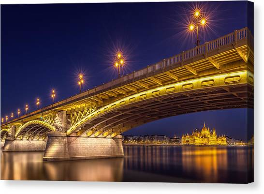 Palace Canvas Print - A View Of Budapest by Thomas D M?rkeberg