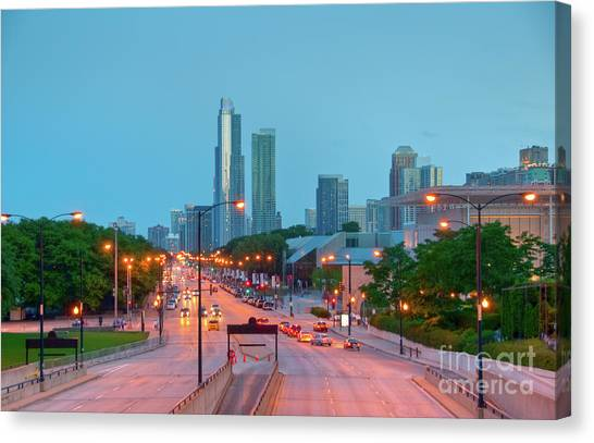 A View Of Columbus Drive In Chicago Canvas Print