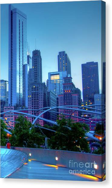 A View Of Millenium Park From The Amoco Bridge In Chicago At Dus Canvas Print