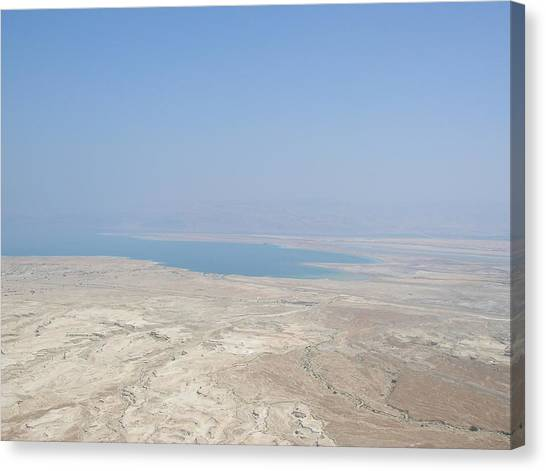 A View Of The Dead Sea From Masada Canvas Print by Susan Heller