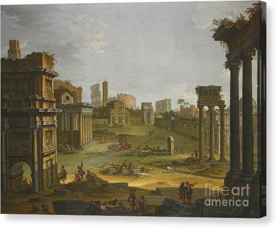 The Forum Canvas Print - A View Of The Forum by Celestial Images