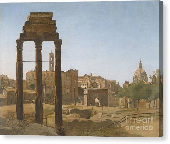 The Forum Canvas Print - A View Of The Forum Towards The Palazzo Senatorio by Celestial Images