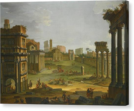 The Forum Canvas Print - A View Of The Forum With The Campo Vaccino by MotionAge Designs