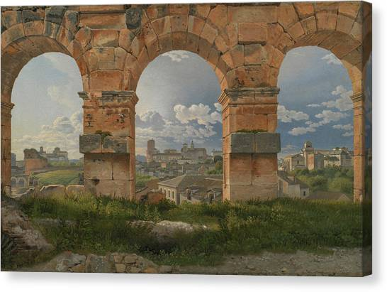 The Colosseum Canvas Print - A View Through Three Arches Of The Third Storey Of The Colosseum by Christoffer Wilhelm Eckersberg