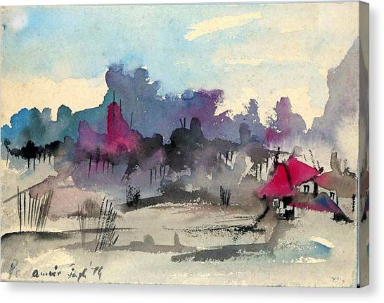 A Village Among The Hills Canvas Print