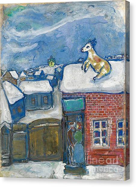 A Village In Winter Canvas Print