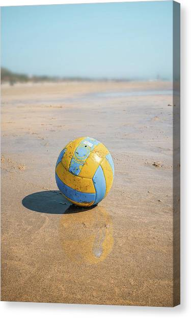 Volleyball Canvas Print - A Volleyball On The Beach by Carlos Caetano