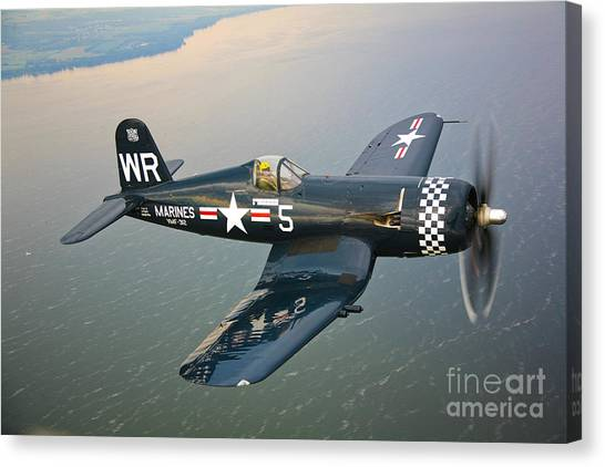 Shoulders Canvas Print - A Vought F4u-5 Corsair In Flight by Scott Germain