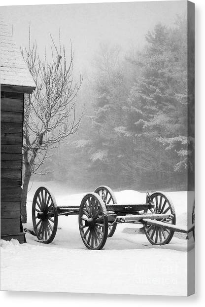 A Wagon In Winter Canvas Print