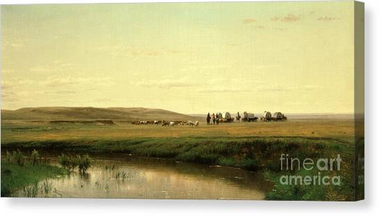 Thomas The Train Canvas Print - A Wagon Train On The Plains by Thomas Worthington Whittredge