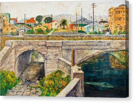 A Walk Along The Canal By Victor Herman Canvas Print by Joni Herman