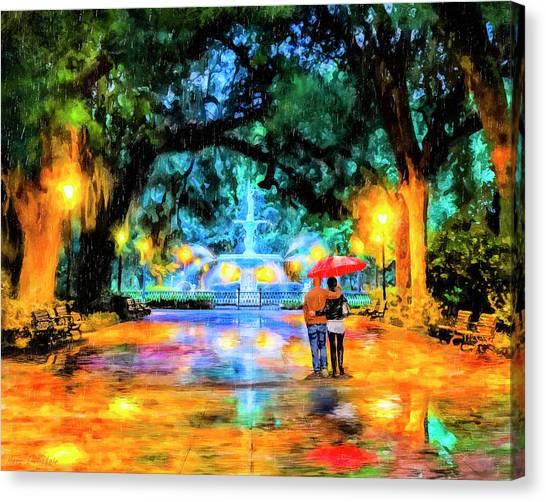 Canvas Print featuring the painting A Walk In Forsyth Park - Savannah by Mark Tisdale
