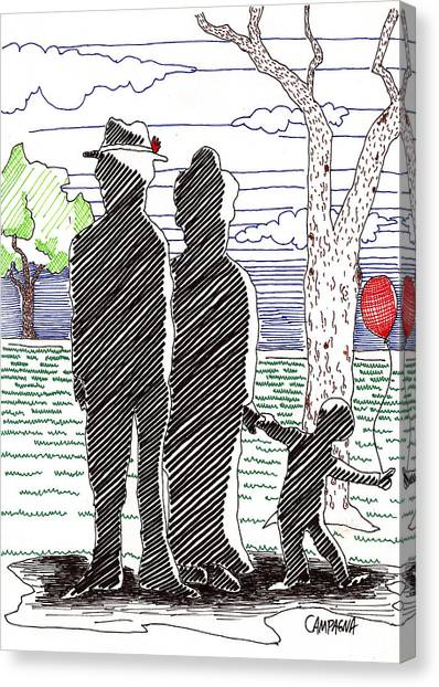 Canvas Print featuring the drawing A Walk In The Park by Teddy Campagna
