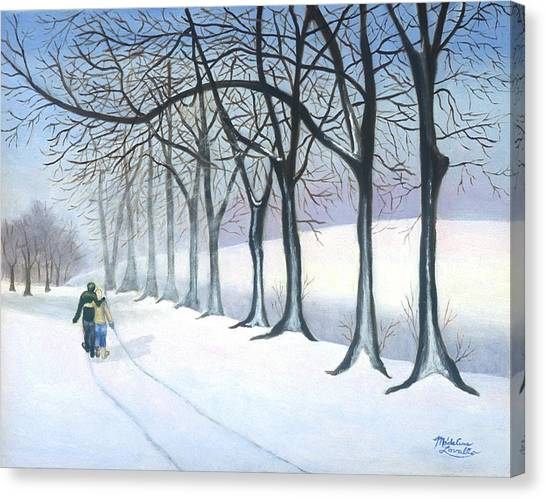 A Walk In The Snow Canvas Print