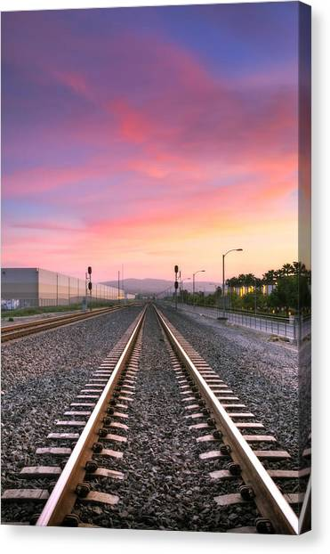 Train Conductor Canvas Print - A Walk On The Tracks by Eddie Yerkish