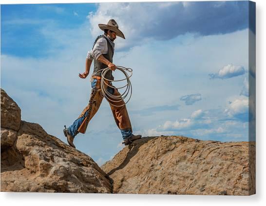 Cowboy Canvas Print - A Walk On The Wild Side by Pamela Steege