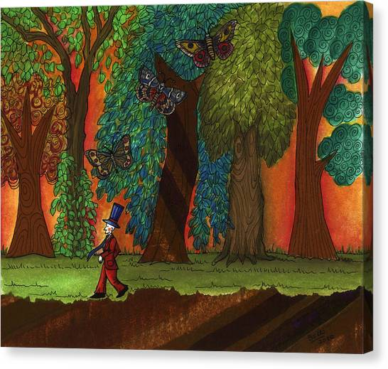 Collage Art For Sale Canvas Print - A Walk Through The Forest by Graciela Bello