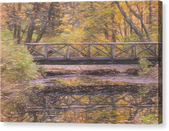 A Walking Bridge Reflection On Peaceful Flowing Water. Canvas Print