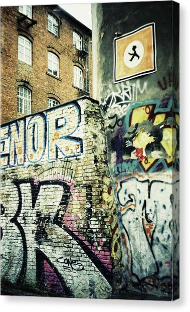 A Wall Of Berlin With Graffiti Canvas Print