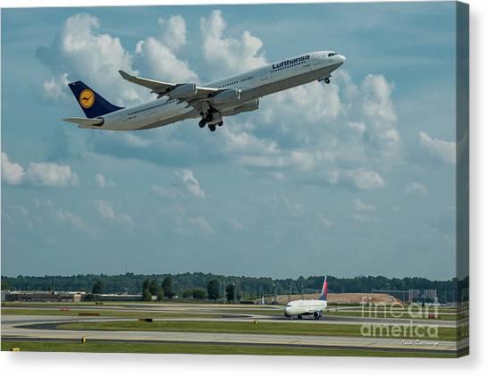 Star Alliance Canvas Print - A Way Home Lufthansa Airlines Airbus 340-300 Atlanta Airport Art by Reid Callaway