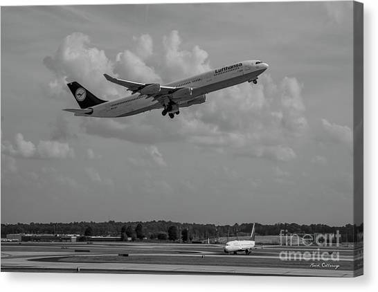 Star Alliance Canvas Print - The Way Out Of Town Lufthansa German Airlines Jet Art by Reid Callaway