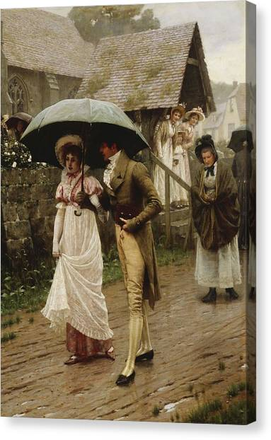 Engagement Canvas Print - A Wet Sunday Morning by Edmund Blair Leighton