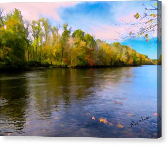 A Wide Scenic View Of Shetucket River. Canvas Print