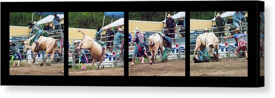 Rodeo Clown Canvas Print - A Wild Ride Montage by Phyllis Taylor