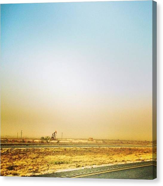 Oil Rigs Canvas Print - Wind Wall by Ashley Baker